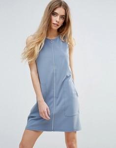 Трикотажное платье на молнии First & I - Синий