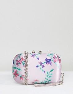 Атласный клатч с цветочным принтом Chi Chi London - Мульти