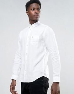 Льняная рубашка с длинными рукавами Selected - Белый