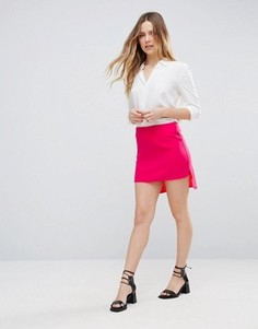 Юбка с удлиненным подолом сзади Neon Rose - Розовый
