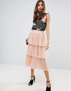 Многоярусная плиссированная юбка миди ASOS - Розовый