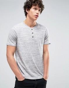 Полихроматическая футболка с воротом на пуговицах Tokyo Laundry - Серый