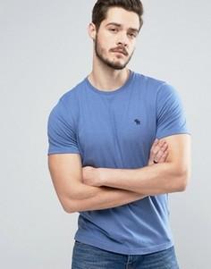 Синяя обтягивающая футболка с логотипом Abercrombie & Fitch - Синий