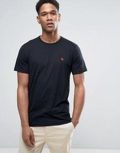 Черная обтягивающая футболка с логотипом Abercrombie & Fitch - Черный