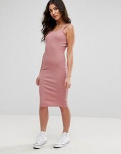 Платье миди в рубчик без рукавов Brave Soul - Розовый