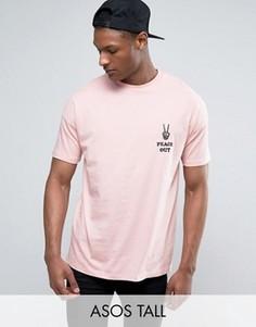 Свободная футболка с вышивкой Peace Out ASOS TALL - Розовый