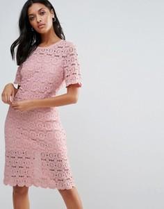 Кружевное платье-футляр Liquorish - Розовый