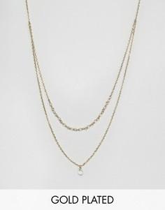 Позолоченное двухрядное ожерелье с бусинами и подвеской-капелькой Orelia - Серебряный