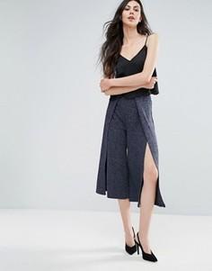 Вязаная юбка-шорты в рубчик Lavish Alice - Темно-синий
