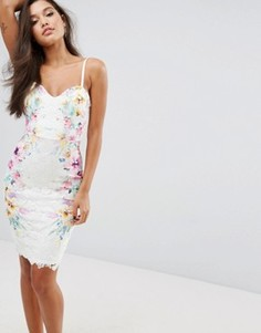 Платье-футляр с симметричным принтом на кружеве Lipsy - Мульти