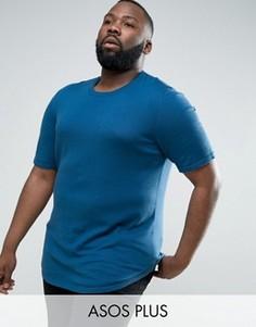 Синяя длинная вязаная футболка с закругленным низом ASOS PLUS - Синий