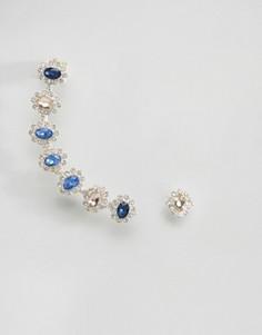 Броская серьга с синим камнем Johnny Loves Rosie - Синий