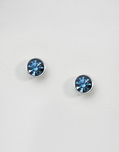Посеребренные серьги-гвоздики с синими камнями Pilgrim - Синий