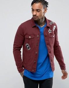 Бордовая джинсовая куртка скинни с нашивками ASOS - Красный