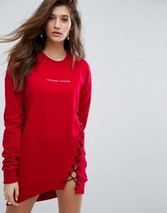 Трикотажное платье со шнуровкой Criminal Damage - Красный