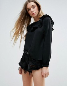 Блузка с оборками Brave Soul - Черный