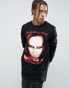 Длинная футболка с принтом Marilyn Manson New Look - Черный