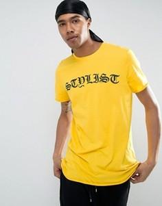 Удлиненная футболка с принтом New Look - Желтый