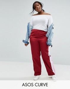 Прямые спортивные брюки с полосками по бокам ASOS CURVE - Красный