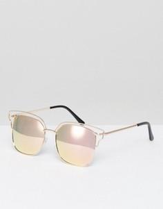 Солнцезащитные очки в прямоугольной металлической оправе с зеркальными линзами AJ Morgan - Золотой