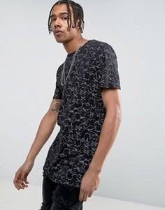 Черная футболка с необработанными краями и принтом New Look - Черный