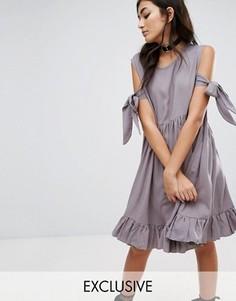 Платье с оборкой на подоле Milk It Vintage - Серый