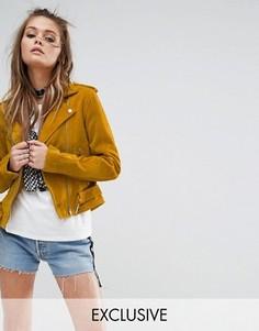 Замшевая байкерская куртка Milk It Vintage - Желтый