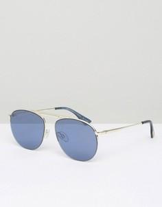 Солнцезащитные очки-авиаторы с голубыми стеклами Le Specs - Золотой