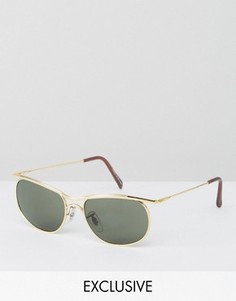 Солнцезащитные очки в квадратной золотистой оправе Reclaimed Vintage - Золотой