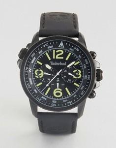 Черные часы с кожаным ремешком и многофункциональным циферблатом из нержавеющей стали Timberland Campton Mens - Черный
