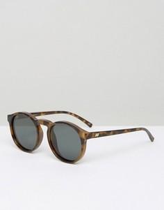 Круглые солнцезащитные очки в черепаховой оправе с поляризованными линзами Le Specs - Коричневый