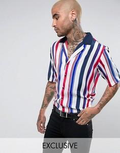 Белая рубашка в полоску с отложным воротником Reclaimed Vintage - Белый