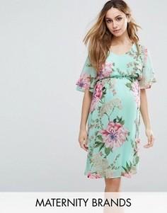 Тканое чайное платье с цветочным принтом Mama.licious - Синий