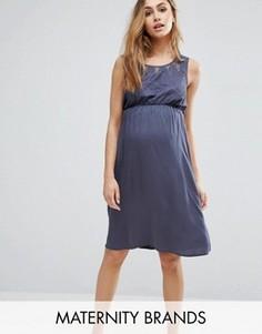 Короткое приталенное платье без рукавов с отделкой кроше Mama.licious - Синий