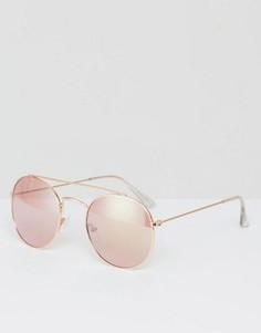 Круглые солнцезащитные очки в металлической оправе цвета розового золота AJ Morgan - Золотой