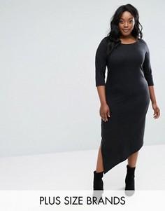 Асимметричное трикотажное платье Junarose - Черный