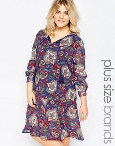Свободное платье с удлиненной кромкой и принтом пейсли Diya Plus - Синий