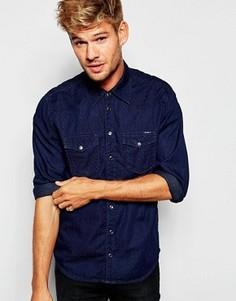 Темно-синяя джинсовая рубашка слим в горошек в стиле вестерн Pepe Carson - Синий