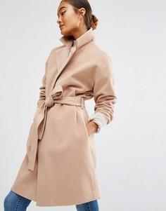 Пальто с поясом First & I - Коричневый