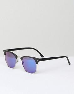 Солнцезащитные очки в стиле ретро с синими линзами ASOS - Черный