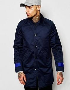 Темно-синее пальто с контрастной отделкой на рукавах Diesel J-Mac - Темно-синий