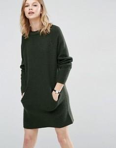 Платье-джемпер с двухслойной горловиной и карманами ASOS - Зеленый