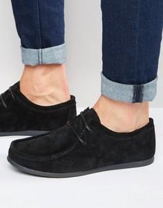 Черные замшевые туфли со шнуровкой и черной подошвой ASOS - Черный
