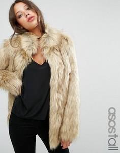 Куртка в винтажном стиле из искусственного меха ASOS TALL - Бежевый