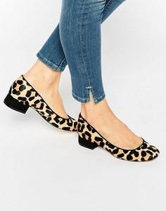 Туфли на плоской подошве из шерсти пони с леопардовым принтом Dune Alanah - Мульти