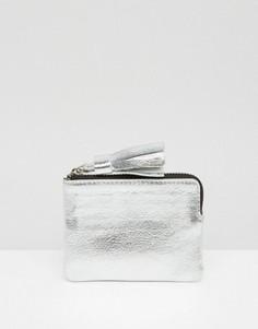 Кожаный кошелек для монет с кисточкой ASOS - Серебряный