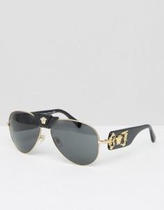 Солнцезащитные очки-авиаторы cо съемной кожаной медузой Versace - Черный