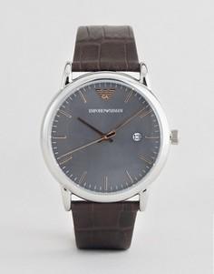 Часы с кожаным ремешком и серым циферблатом Emporio Armani AR1996 - Черный