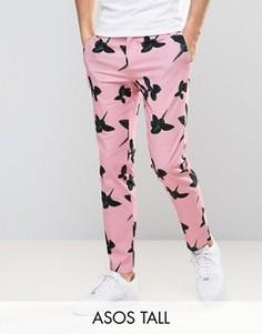Розовые брюки скинни с цветочным принтом ASOS TALL - Розовый