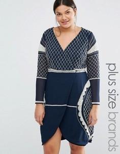 Платье мини с глубоким вырезом и бисерной отделкой Lovedrobe Luxe - Темно-синий